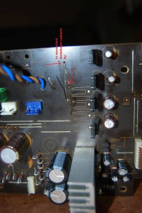 Here we shall feed in our independent, CLEAN power supply for the analog side power supply lines for the PCM dac chips.