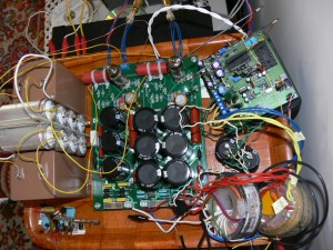 DAC top view. AD1865 based; Tube buffered output. Numerous voltage regulators, independent power supply paths ...