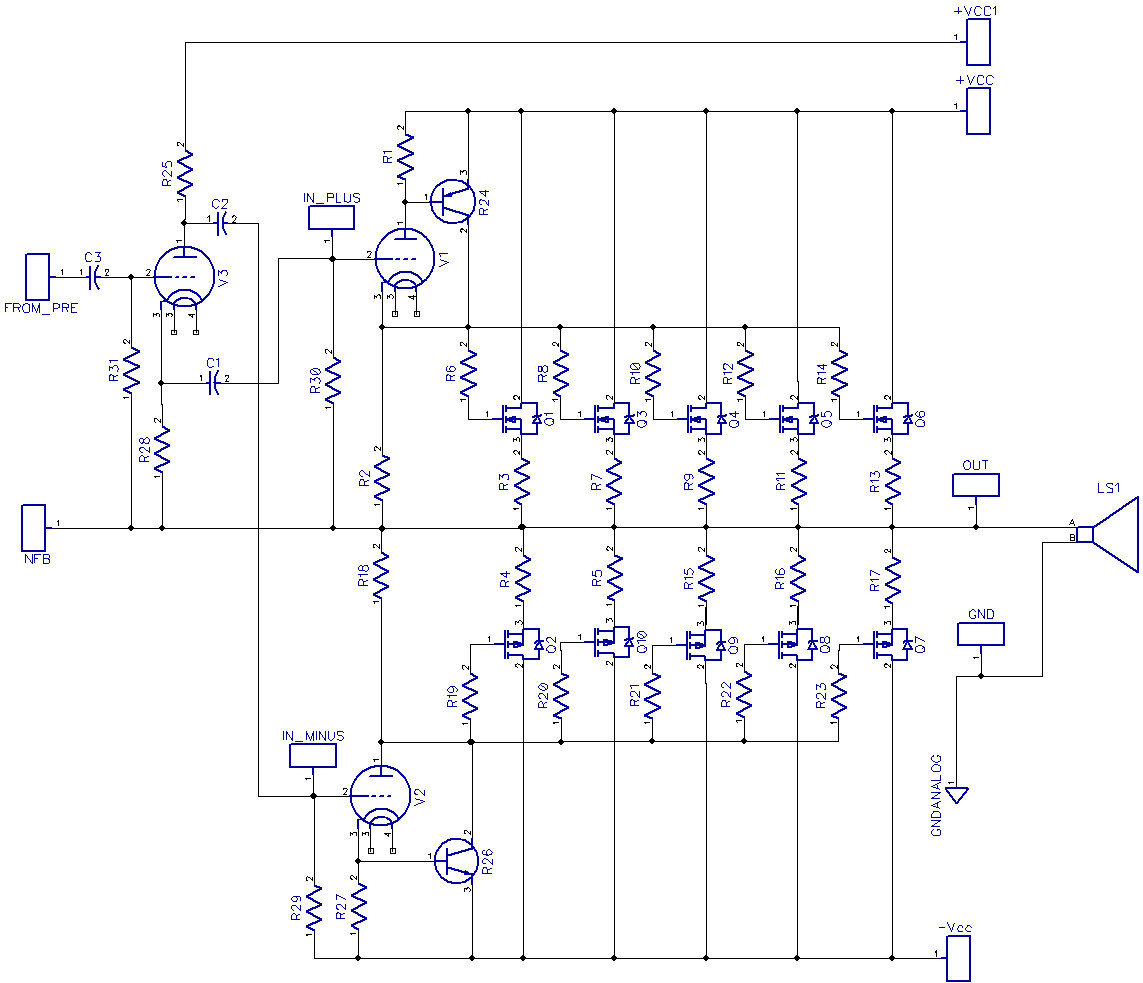 Using Only Four Transistors In The Quasicomplementary Amplifier Tube Otl Headphone Circuit Diagram Amplifiercircuit Technics Futterman Hybrid V10b